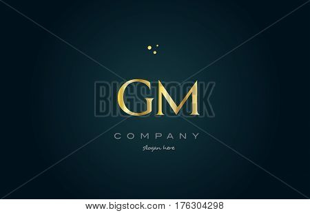 Gm G M  Gold Golden Luxury Alphabet Letter Logo Icon Template