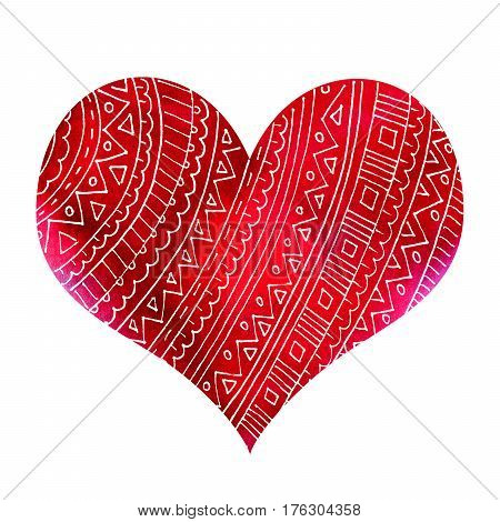 Abstract red watercolor heart with pattern isolated on white background
