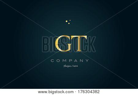 Gt G T  Gold Golden Luxury Alphabet Letter Logo Icon Template