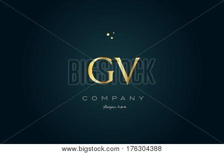 Gv G V  Gold Golden Luxury Alphabet Letter Logo Icon Template