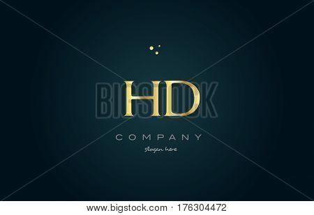 Hd H D  Gold Golden Luxury Alphabet Letter Logo Icon Template