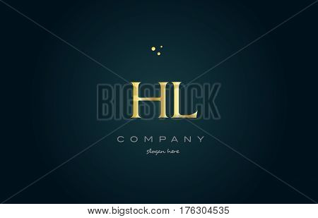 Hl H L  Gold Golden Luxury Alphabet Letter Logo Icon Template