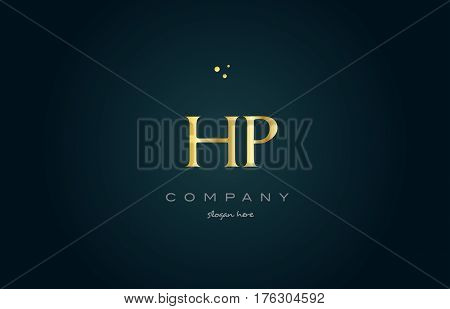 Hp H P  Gold Golden Luxury Alphabet Letter Logo Icon Template