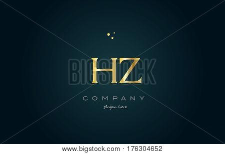 Hz H Z  Gold Golden Luxury Alphabet Letter Logo Icon Template