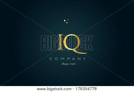 Iq I Q  Gold Golden Luxury Alphabet Letter Logo Icon Template