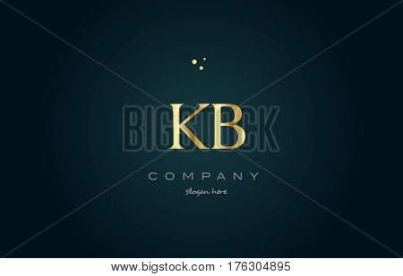 Kb K B  Gold Golden Luxury Alphabet Letter Logo Icon Template