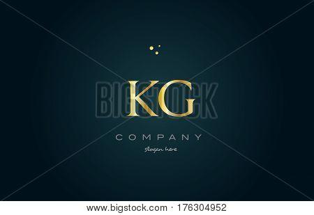 Kg K G  Gold Golden Luxury Alphabet Letter Logo Icon Template