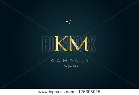 Km K M  Gold Golden Luxury Alphabet Letter Logo Icon Template