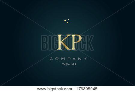 Kp K P  Gold Golden Luxury Alphabet Letter Logo Icon Template