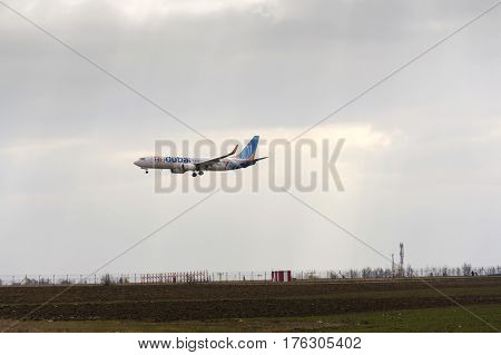 Ruzyne, Czech Republic - March 12: Flydubai Airplane Landing On Vaclav Havel Airport On March 12, 20