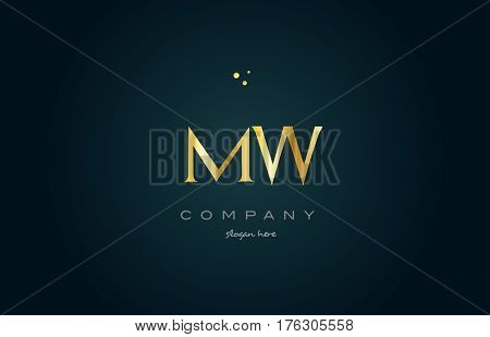 Mw M W  Gold Golden Luxury Alphabet Letter Logo Icon Template