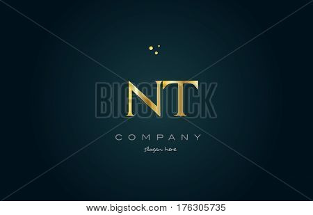 Nt N T  Gold Golden Luxury Alphabet Letter Logo Icon Template
