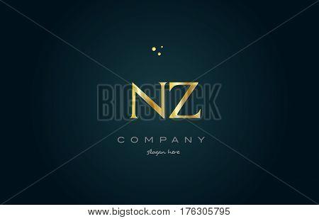 Nz N Z  Gold Golden Luxury Alphabet Letter Logo Icon Template