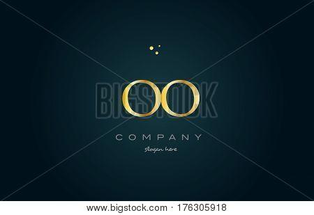 Oo O  Gold Golden Luxury Alphabet Letter Logo Icon Template