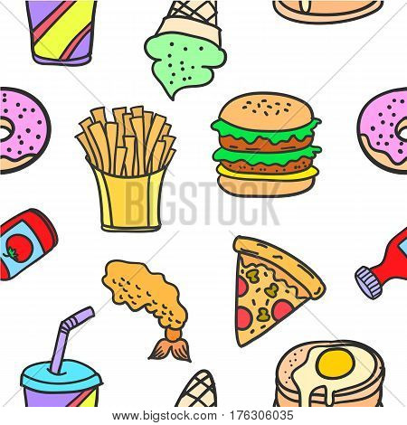Stock of food various style doodles vector art