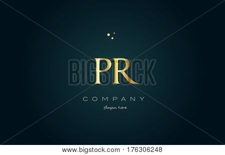 Pr P R  Gold Golden Luxury Alphabet Letter Logo Icon Template