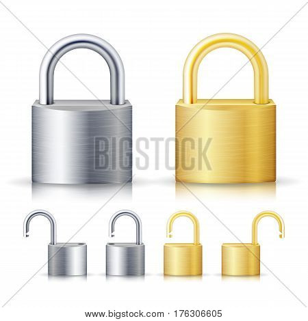 Locked And Unlocked Padlock Realistic Set Illustration. Gold And Steel. Security Concept. Metal Lock For Safety