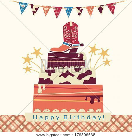 Cowboy Party Card With Big Cake And Cowboy Shoe On Sweet Cake.