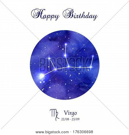Happy birthday greeting card. Zodiac constellation.  Virgo. The Maiden. Vector illustration