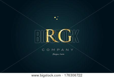 Rg R G  Gold Golden Luxury Alphabet Letter Logo Icon Template