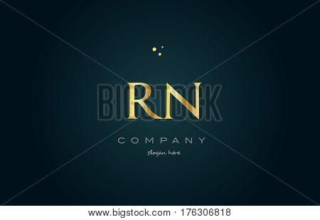 Rn R N  Gold Golden Luxury Alphabet Letter Logo Icon Template