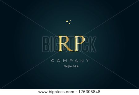 Rp R P  Gold Golden Luxury Alphabet Letter Logo Icon Template