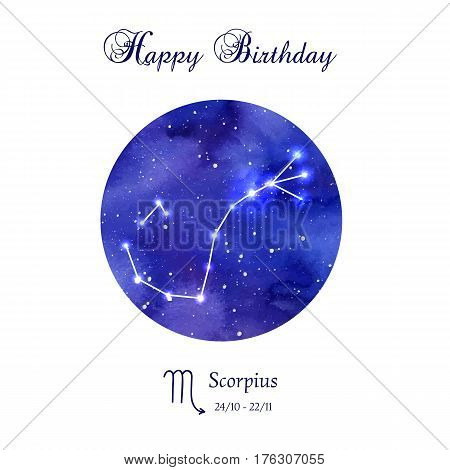 Happy birthday greeting card. Zodiac constellation. Scorpius. The Scorpion. Vector illustration