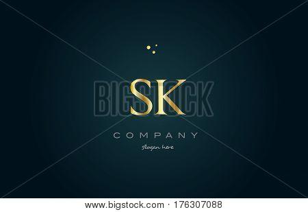 Sk S K  Gold Golden Luxury Alphabet Letter Logo Icon Template
