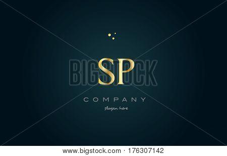 Sp S P  Gold Golden Luxury Alphabet Letter Logo Icon Template