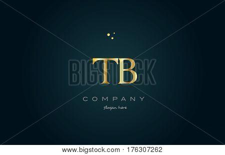 Tb T B  Gold Golden Luxury Alphabet Letter Logo Icon Template