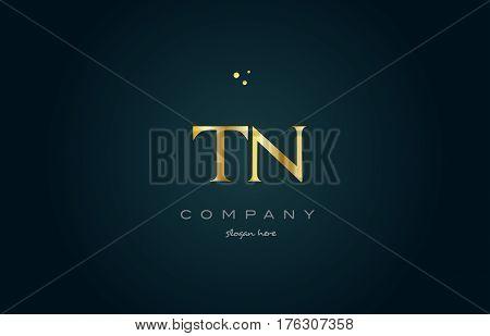 Tn T N  Gold Golden Luxury Alphabet Letter Logo Icon Template