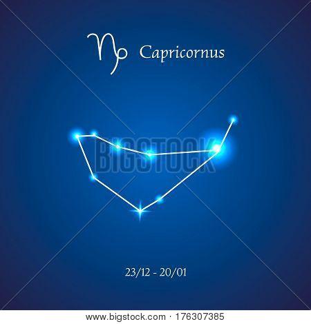 Zodiac constellation. Capricorn. The Goat Vector illustration