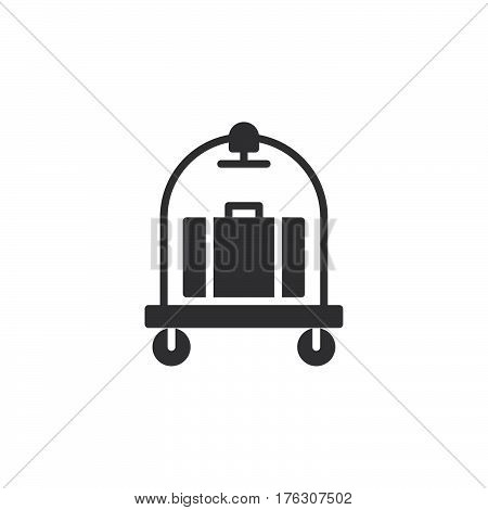 Baggage luggage trolley icon vector filled flat sign solid pictogram isolated on white. Hotel cart symbol logo illustration