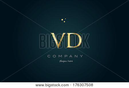 Vd V D  Gold Golden Luxury Alphabet Letter Logo Icon Template