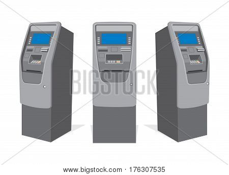 ATM bank cash machine from different sides. Vector illustration