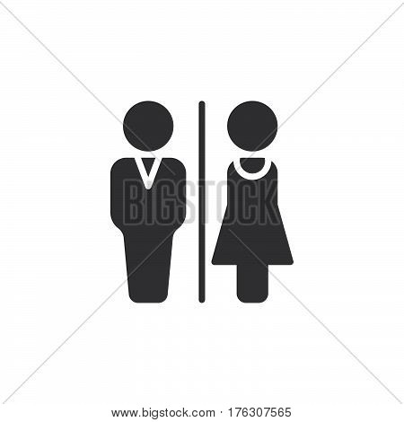 Man and Woman toilet icon vector filled flat sign solid pictogram isolated on white. WC Water closet symbol logo illustration