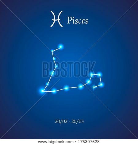 Zodiac constellation. Pisces. The Fish Vector illustration
