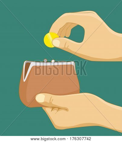 Hands with coin and purse. Hand taking coin from wallet - paying with cash concept