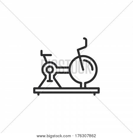 Exercise Stationary Bike line icon outline vector sign linear pictogram isolated on white. Gym symbol logo illustration
