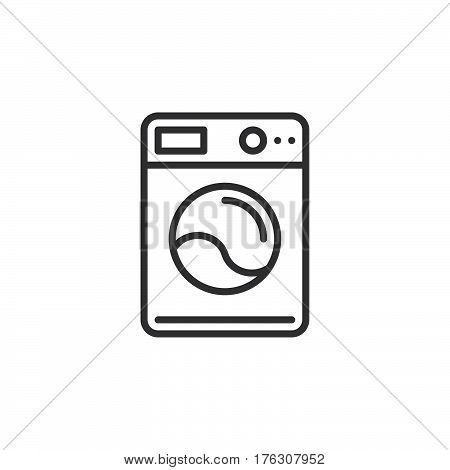Washing machine line icon outline vector sign linear pictogram isolated on white. Laundry symbol logo illustration