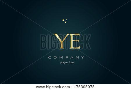 Ye Y E  Gold Golden Luxury Alphabet Letter Logo Icon Template