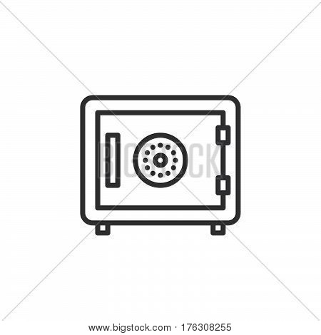 Strongbox line icon outline vector sign linear pictogram isolated on white. In room safe symbol logo illustration