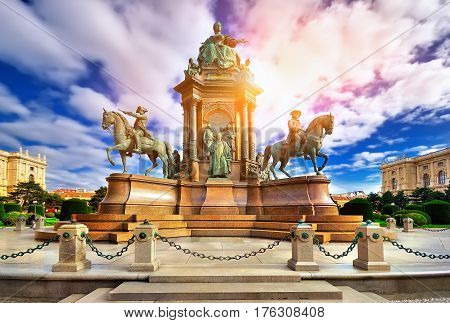 Maria Theresa Statue On The Square Near Historical Museum In Vie