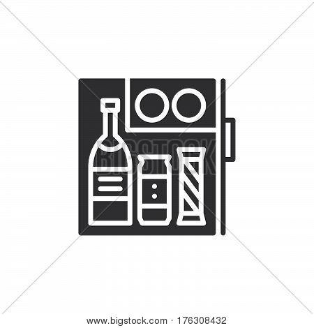 Hotel mini fridge bar icon vector filled flat sign solid pictogram isolated on white. Symbol logo illustration
