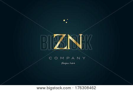 Zn Z N  Gold Golden Luxury Alphabet Letter Logo Icon Template