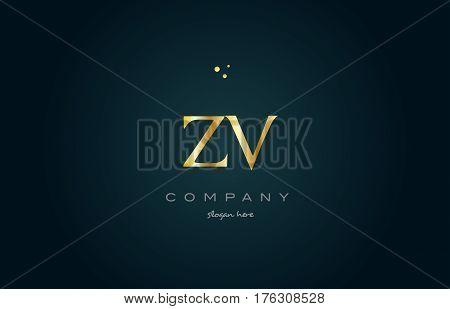 Zv Z V  Gold Golden Luxury Alphabet Letter Logo Icon Template