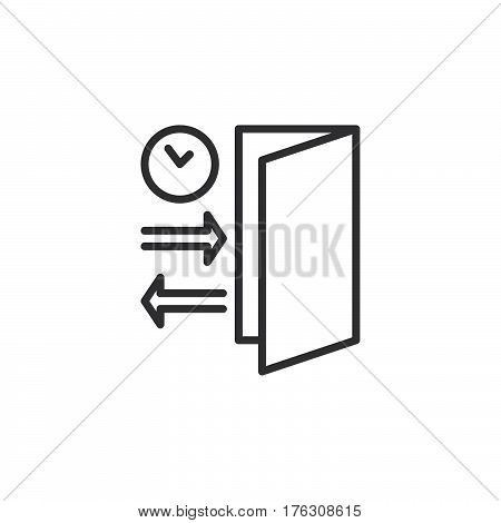 Check-in Check-out line icon outline vector sign linear pictogram isolated on white. Symbol logo illustration