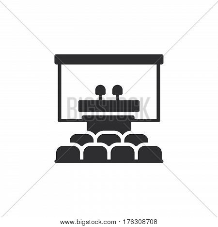 Speaker podium icon vector filled flat sign solid pictogram isolated on white. Conference room symbol logo illustration