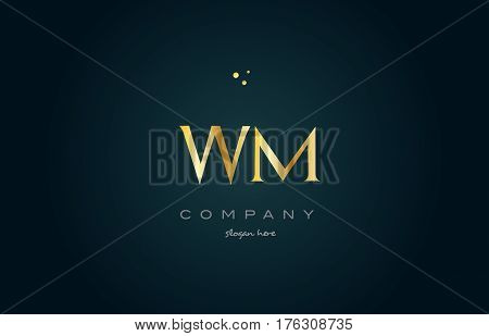 Wm W M  Gold Golden Luxury Alphabet Letter Logo Icon Template