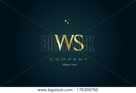 Ws W S  Gold Golden Luxury Alphabet Letter Logo Icon Template